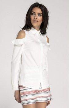 Elegancka koszula z wyciętymi ramionami ecru NA1014