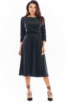 Welurowa sukienka midi czarna A407