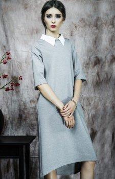 Kasia Miciak design sukienka z kołnierzykiem szara