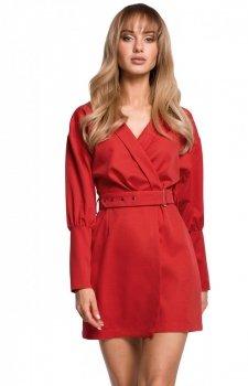 Stylowa sukienka z paskiem czerwona M501