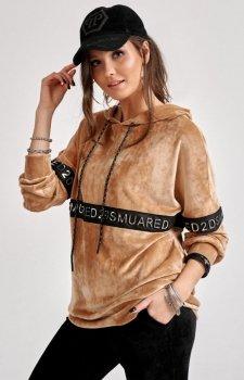 Welurowa bluza z kapturem karmelowa 0004