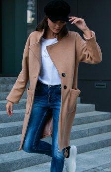 Elegancki płaszcz alpaki karmelowy P011