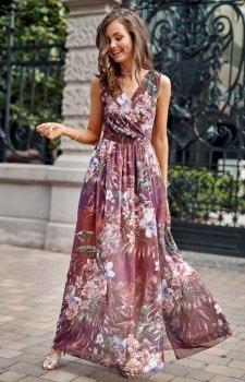 Szyfonowa długa sukienka letnia kolorowa 0209 R75