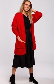 Długi kardigan z kieszeniami czerwony M467