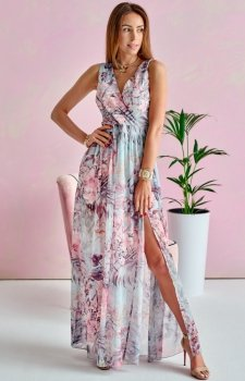 Szyfonowa długa sukienka letnia kolorowa 0209 U63