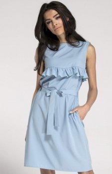 Prosta sukienka z falbanką błękitna NA1001