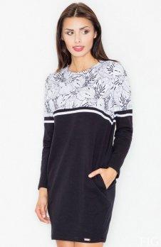 Figl M510 sukienka czarna wzór 27