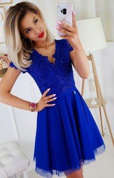 Sukienka z koronkową górą chabrowa 2180-05