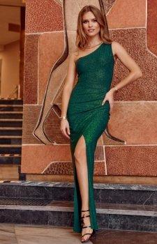 Elegancka zielona sukienka z brokatem 274