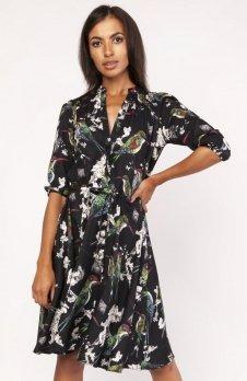 Sukienka o rozkloszowanym dole w ptaki SUK155