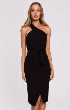 Elegancka czarna sukienka na jedno ramię M572