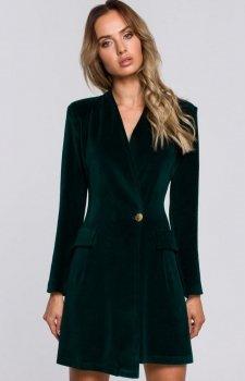 Welurowa sukienka żakietowa zielona M562