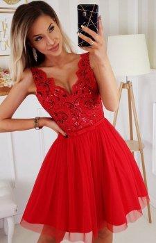 Rozkloszowana sukienka z koronką czerwona Bicotone 2206-02