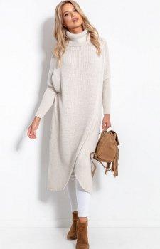 Długi sweter z golfem beżowy F1052