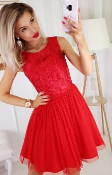 Bicotone sukienka z koronką czerwona 2179-02