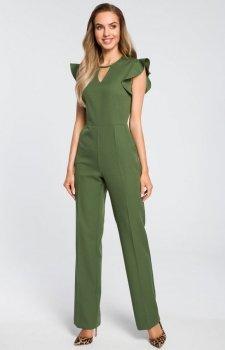 Elegancki kombinezon z falbankami zielony M424