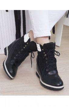 Czarne botki koturn