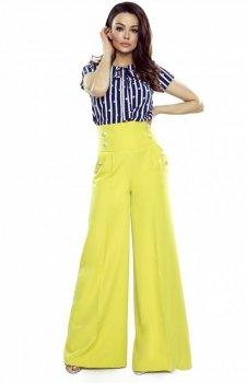 Eleganckie żółte spodnie z szerokimi nogawkami