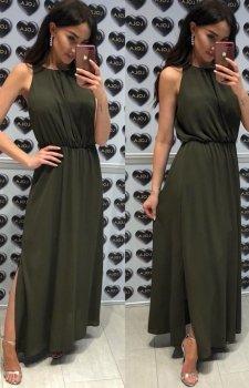 Elegancka sukienka rzymianka khaki