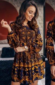 *Lola Fashion wzorzysta sukienka rozkloszowana