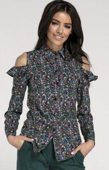 Elegancka koszula z wyciętymi ramionami w kwiaty NA1014