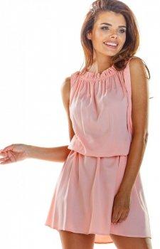 Zwiewna różowa letnia sukienka mini A284