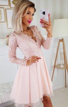Koronkowa sukienka z tiulowymi rękawami brzoskwiniowa