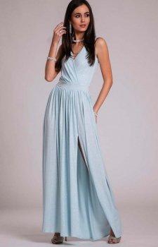 Wieczorowa sukienka z brokatem błękitna 224