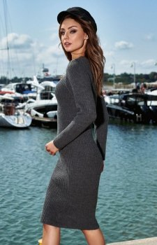 Sweterkowa sukienka grafitowa LS224