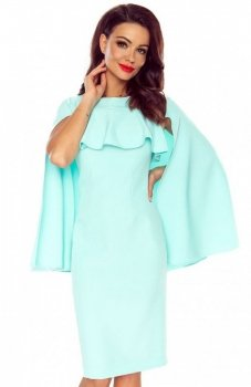 Bergamo Esme sukienka miętowa z peleryną