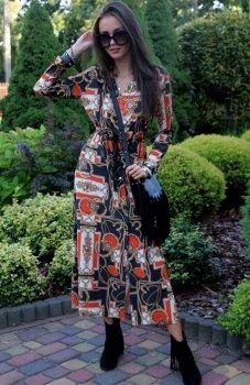 Roco 0220 sukienka długa boho z pomarańczem