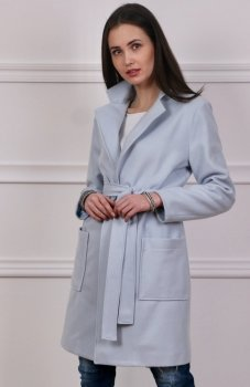 Wiązany płaszcz wiosenny niebieski Roco 007