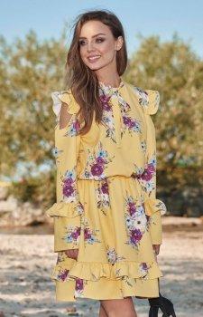 Lemoniade L276 sukienka żółta w kwiatki