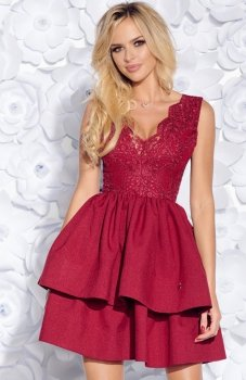 Bicotone 2126-10 sukienka rozkloszowana bordowa
