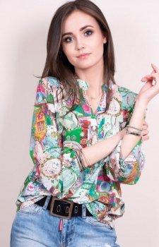 Kolorowa bluzka z dekoltem 0056