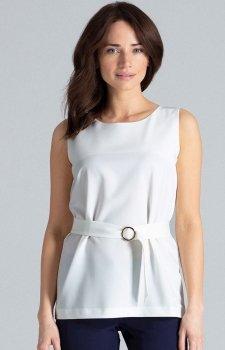 Elegancka bluzka ecru bez rękawów L041