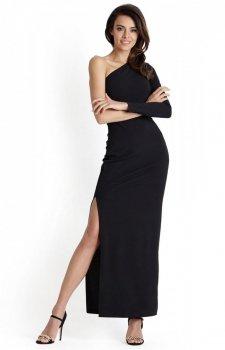 Czarna długa sukienka wieczorowa Luisa