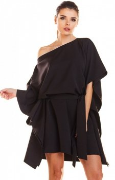 Kimonowa czarna sukienka M196