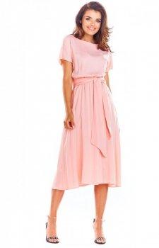 Elegancka sukienka midi pudrowy róż A296