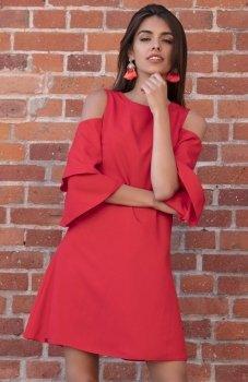 *Fobya F543 elegancka sukienka czerwona
