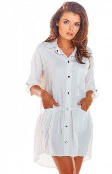 Koszulowa sukienka asymetryczna biała A300