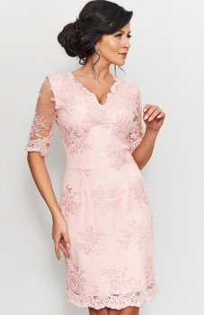 *Roco 0153 sukienka koronkowa pudrowy róż