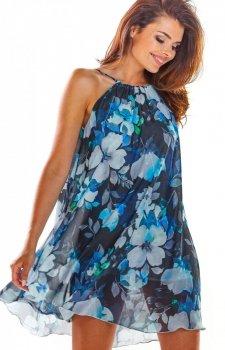 Luźna sukienka w niebieskie kwiaty A289