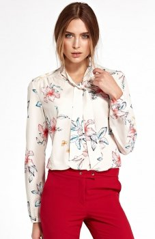 Nife B94K/E bluzka w kwiaty ecru