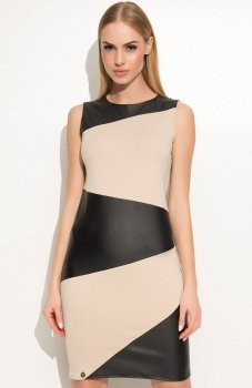Makadamia M341 sukienka beżowo-czarna