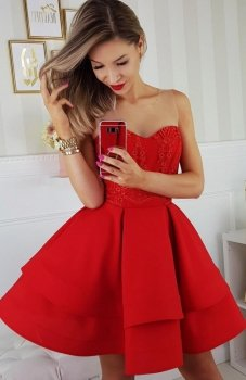 Bicotone 2138-02 sukienka czerwona