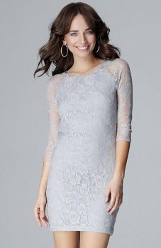 Lenitif L017 sukienka koronkowa szara
