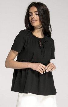 Bluzka typu babydoll czarna NA1013