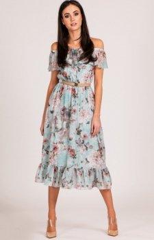 Sukienka z hiszpańskim dekoltem w kwiaty 0247/D13
