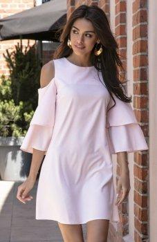 Fobya F543 elegancka sukienka pudrowy róż